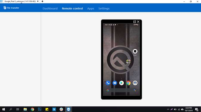 screenshot of Teamviewer app running on phone casting the screen to PC