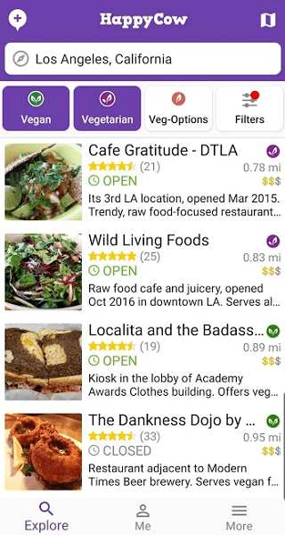 find vegan restaurants