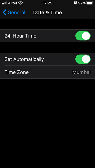 date & time settings