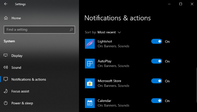 app sorted by most recent in notification and action center settings