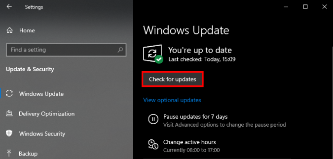 check for update button on Windows Update menu