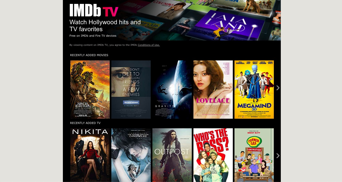 IMDB TV Free Streaming Platform