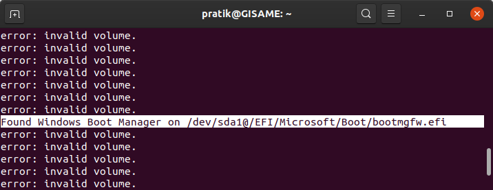 windows EFI boot manager detected in update grub command