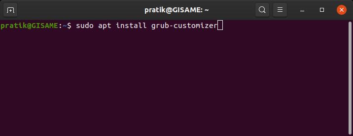 command to install grub customizer