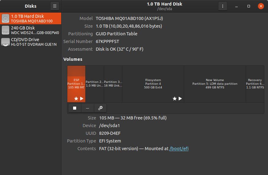 gnome disks utility displaying disks and partitions