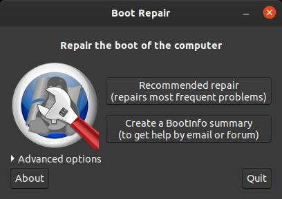 select recommended boot repair in boot repair graphical tool