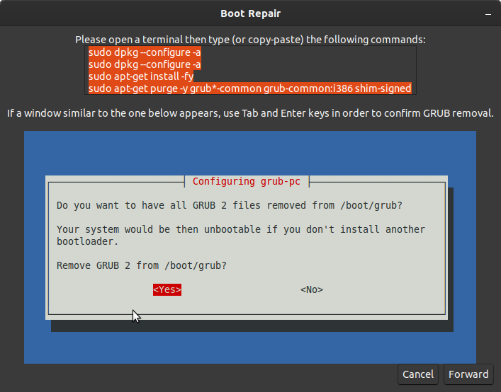 commands to run as prompted by the boot repair tool