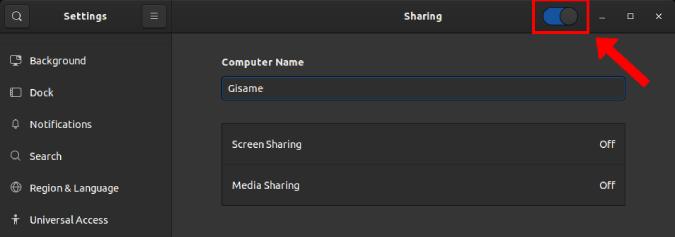 media and screen sharing option in Ubuntu 19.10 settings menu