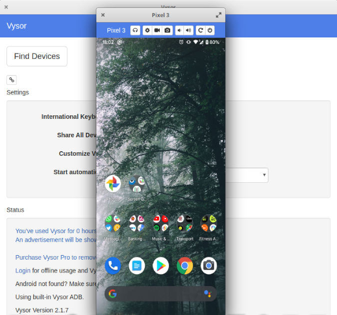 vysor connecting android to linux