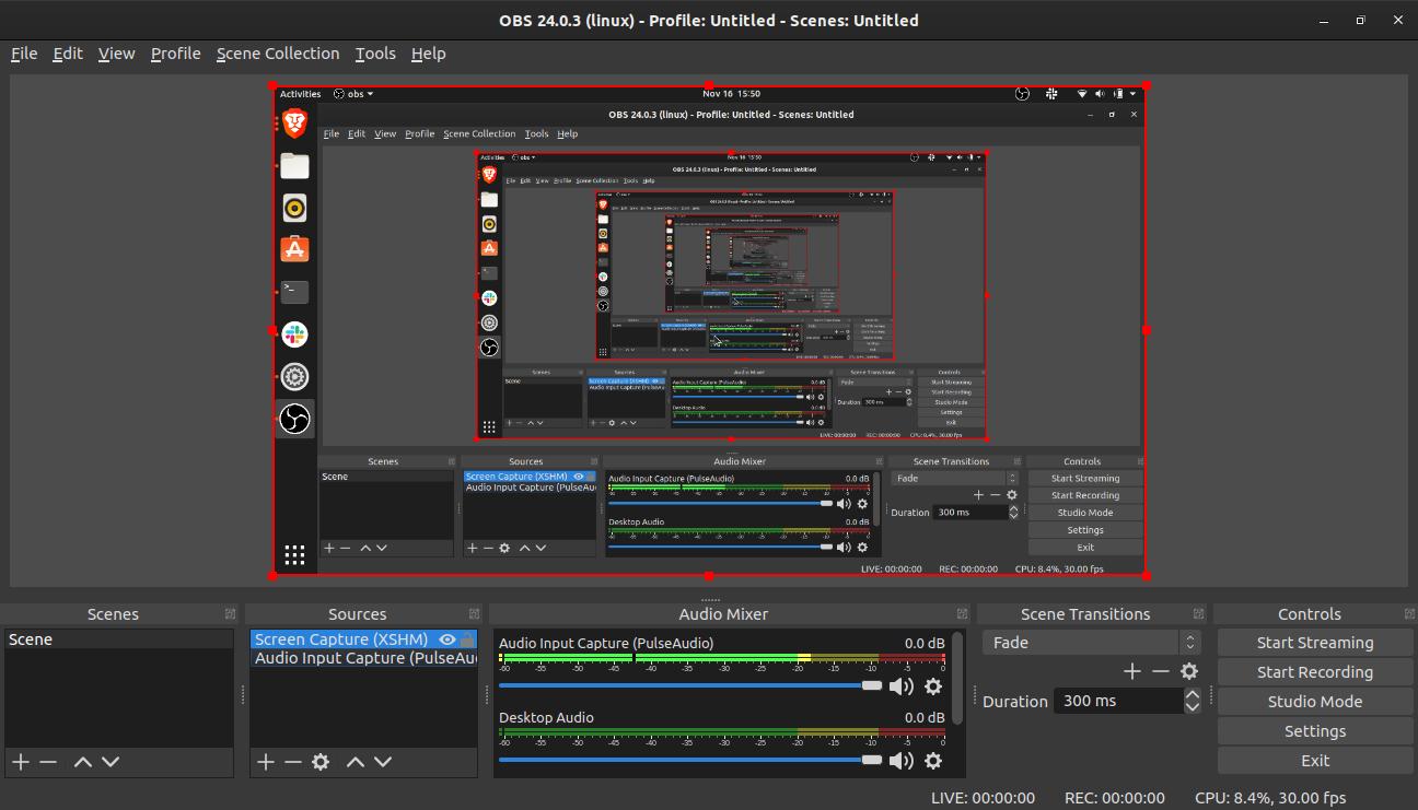 obs studio video streaming to youtube on ubuntu