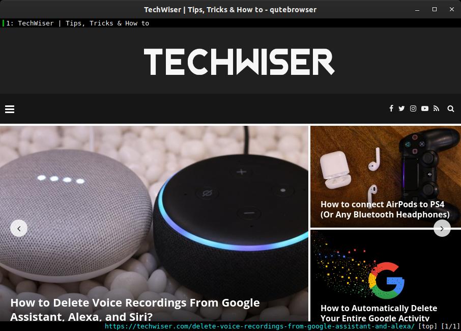 techwiser website on qute vim based browser