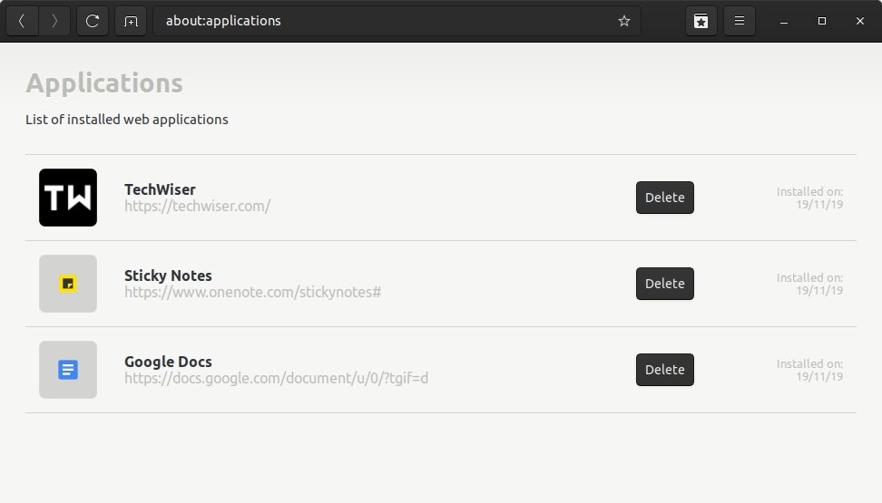 application manager in epiphany browser