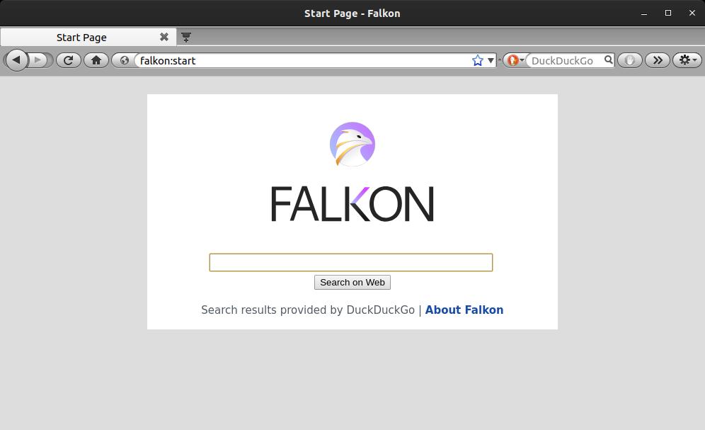 home page of falkon web browser by kde