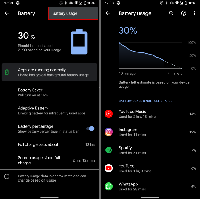 battery saver options on android 10
