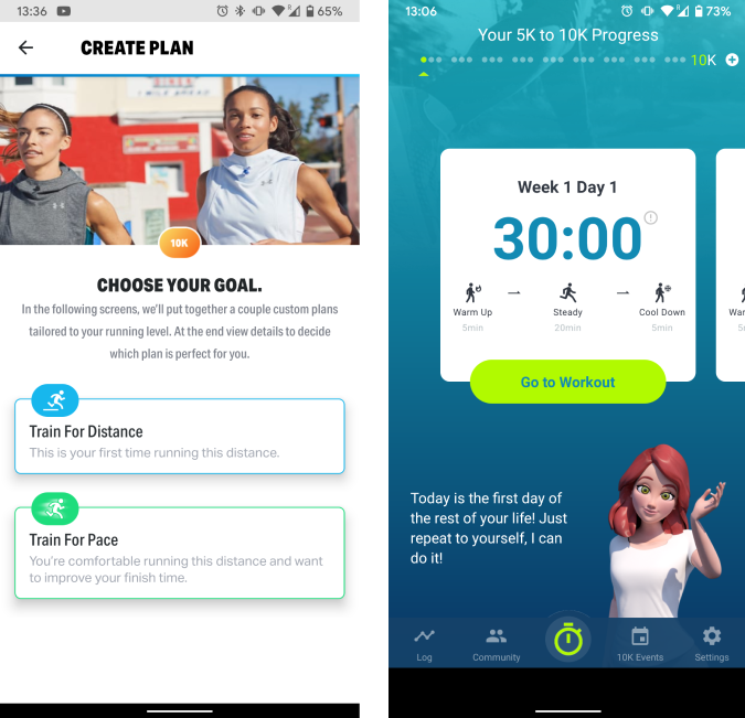 5k to 10k app running plan and characters
