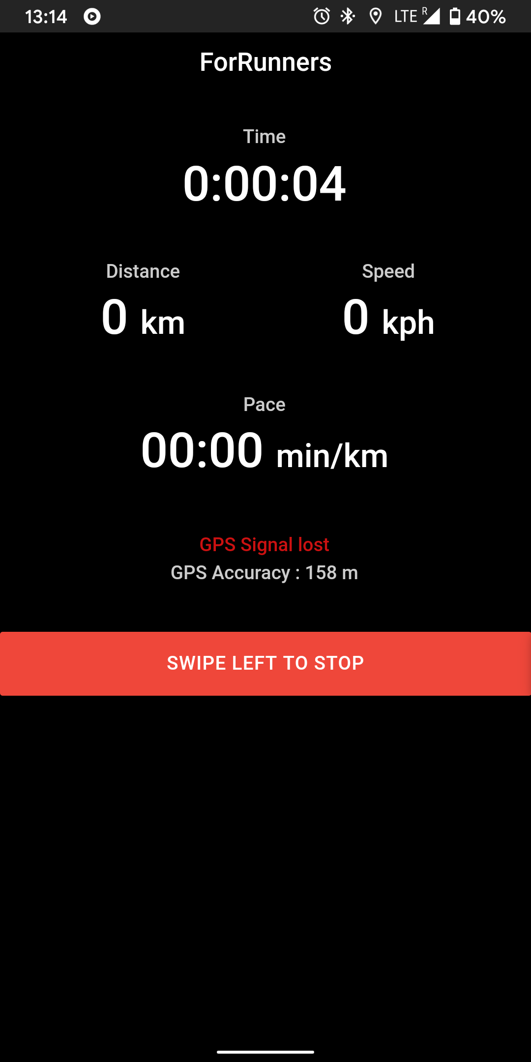 forRunner run tracker interface with GPS