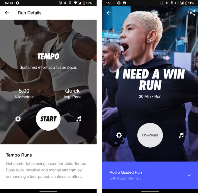 nike running app with audio guided runs and tempo run