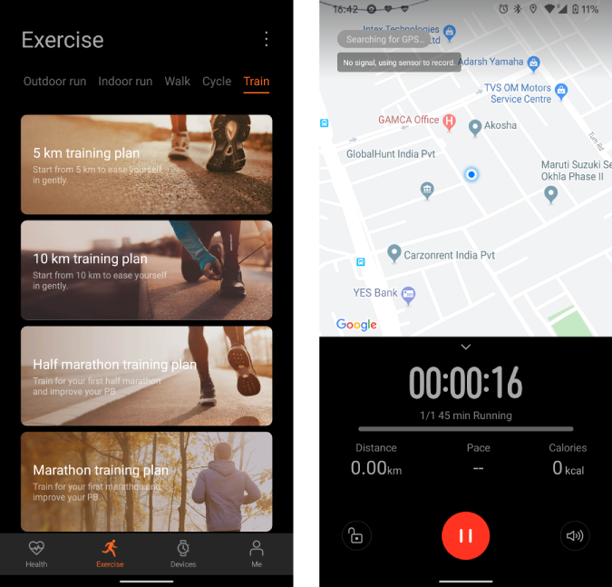 huawei health app with training and tracking plan in operation