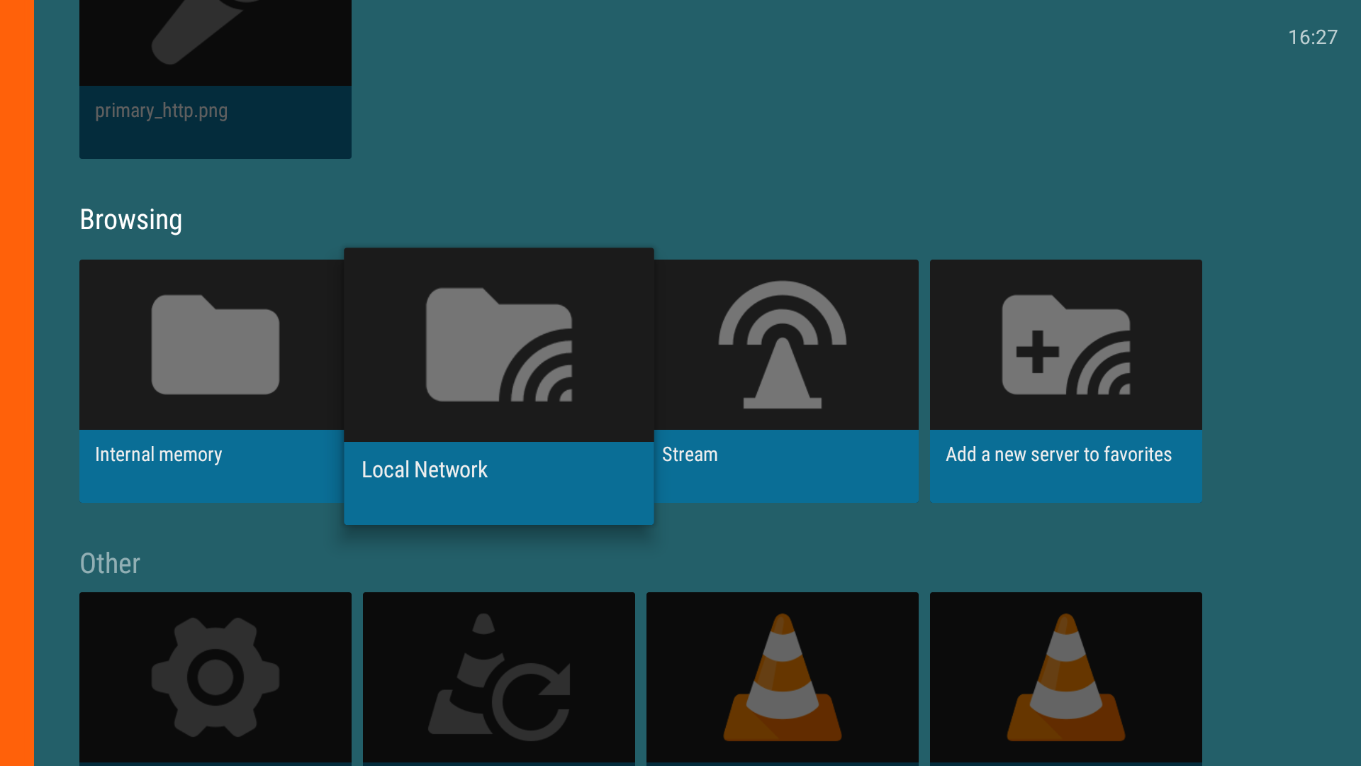 local network folder on vlc media player app on android tv