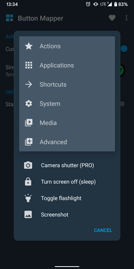remap active edge options in button mapper app