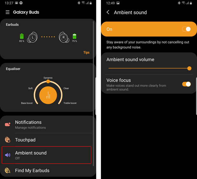 ambient sound toggle and volume on galaxy wear app