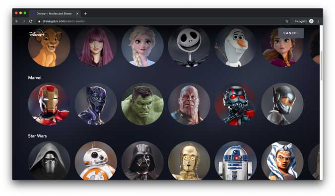 Disney+ app with all the famous characters ready to be setup as an avatar