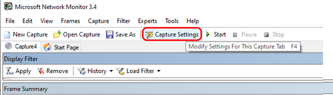 capture settings on ms network manager