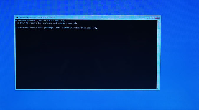 bcdedit command to change bootloader to windows nt