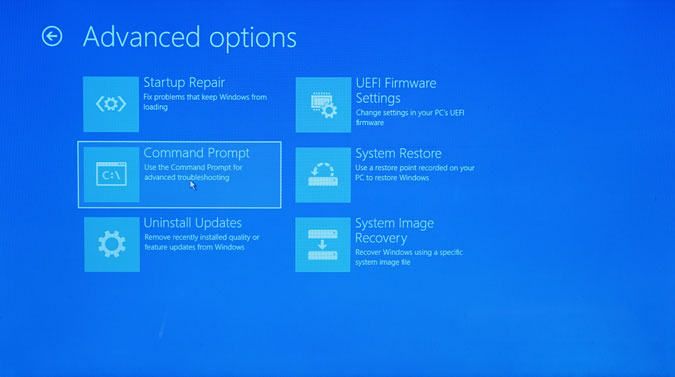 command prompt option in advanced options page of windows boot page