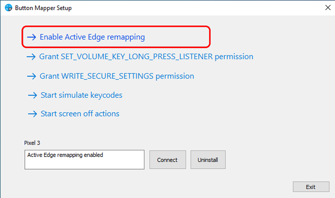 enable active edge remapping on button mapper desktop app