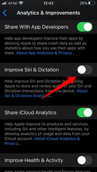 Siri privacy settings