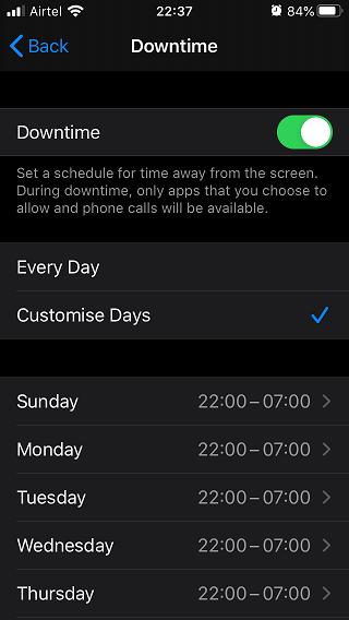 downtime settings for better sleep
