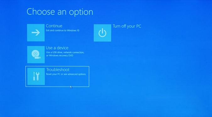 troubleshoot option on windows installation screen