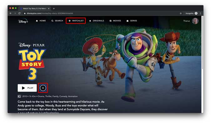 Add a show to watchlist by pressing the Plus button