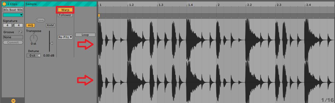 Ableton multiple track warp