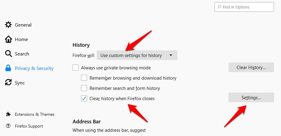 auto delete firefox history 6