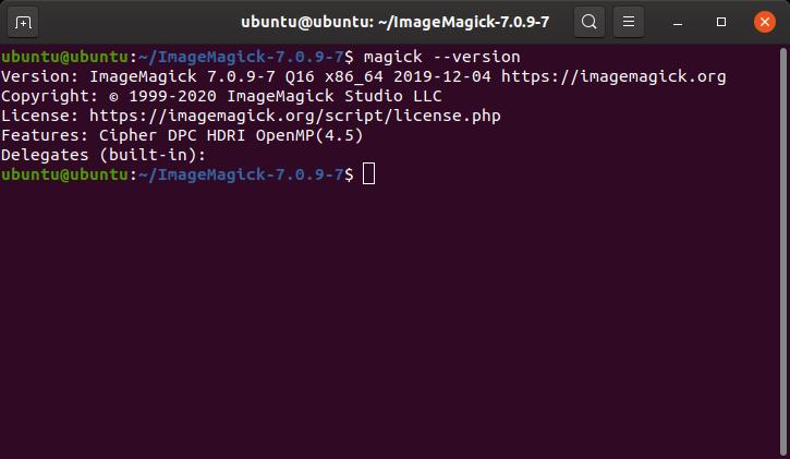 image magick version check on terminal in ubuntu
