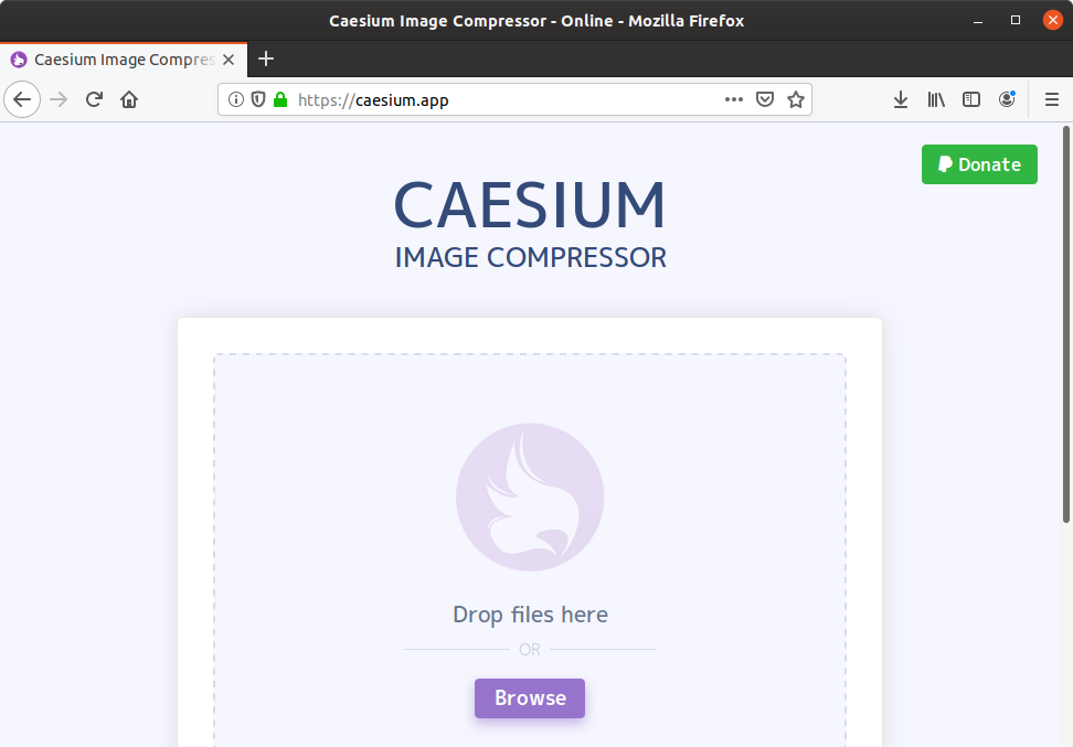 caesium web portal for image compression