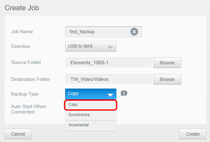 select backup type as copy on NAS