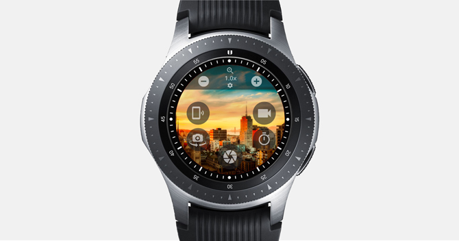 Screenshot of the Galaxy Watch showing tall building and game