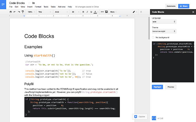 code blocks highlighting snippets of code