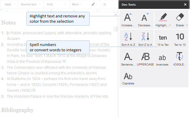 a suite of tools in the sidebar