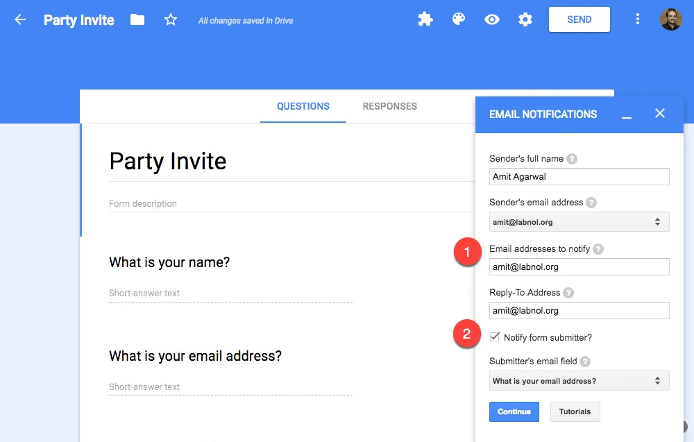 email notifications for google forms with mobile push notifications