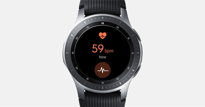 Screenshot of the Galaxy Watch showing the heart rate