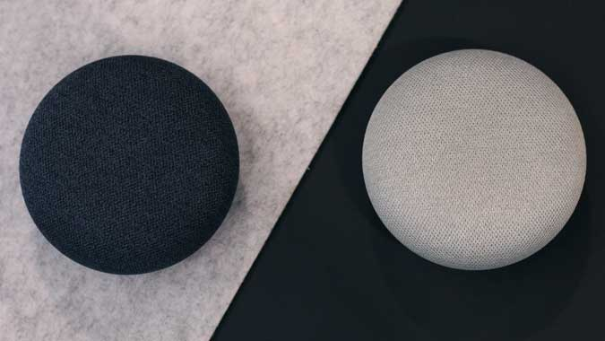 Nest Mini and Home mini on contrasting backgrounds complementing each other.