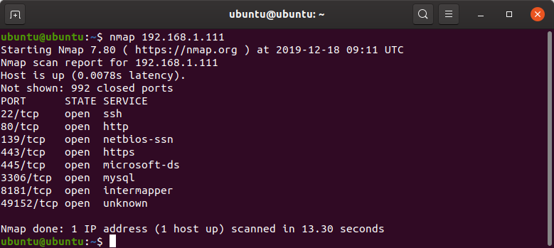 nmap ip address to scan open ports