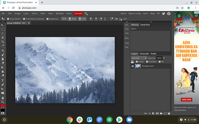 screenshot of snowy mountain in photopea image editor