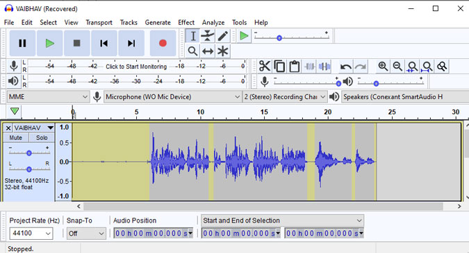 Audacity remove silent part from an audio