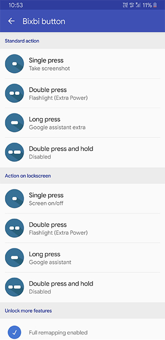 Bixby Remap BxActions settings