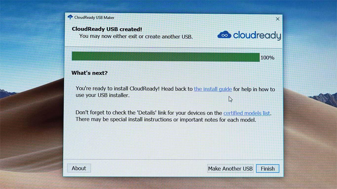 Cloudready installation window
